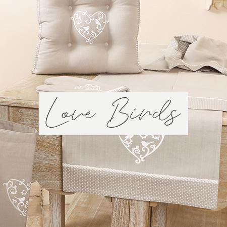 Grey Love Birds Linen