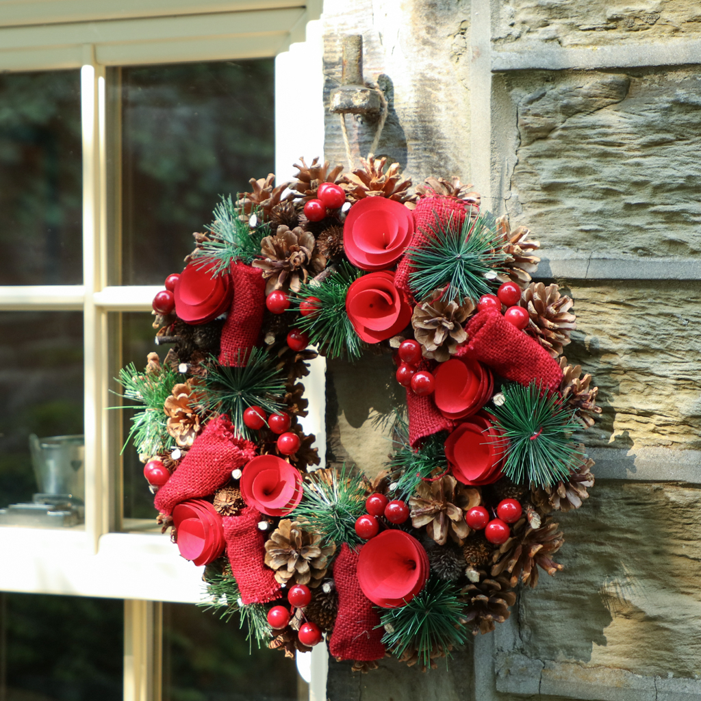 Rose Red Christmas Wreath