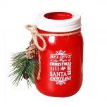Red Mason Jar Christmas Candle Holder