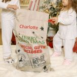 Hessian personalised christmas gift bag