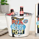 pizza beer and football novelty can bucket