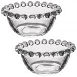 Set of 2 Bella Perle Round Glass Bowls with Beaded Rims