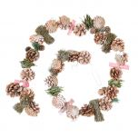 Festive Bright Pink Frosted Pine Cone Christmas Garland Decoration