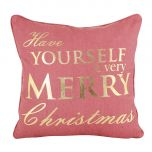 Festive Red and Gold Merry Christmas Cushion