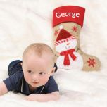 Jute Snowman Christmas Stocking