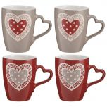 Set of 4 Red and Grey Heart Mugs