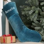 Personalised Blue Velvet Christmas Stocking