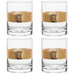 Four Gold Banded Decorative Whisky Tumblers