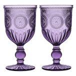 Purple Embossed Short Stemmed Mulled Wine Glasses