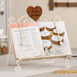 Weighted Cookbook display in cream coated cast iron