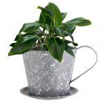 Splattered Metal Teacup and Saucer Planter