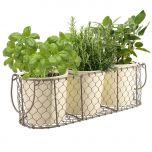 Trio Herb Planter in Cream and Grey