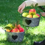 Set of 2 Vintage Zinc Garden Storage Buckets with Chalkboard Hearts