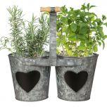Vintage Zinc Double Kitchen Herb Bucket Planter