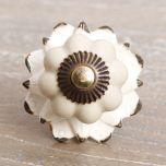 Vintage Ceramic Lotus Flower Drawer Knob