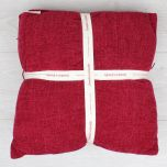 Red Chenille Throw Blanket and Cushion Set