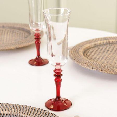 Scarlet Red Stem Champagne Flute