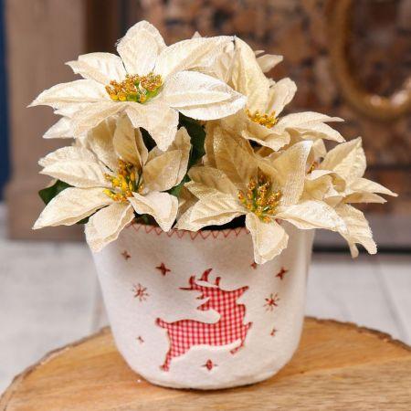 Felt Reindeer Plant Pot
