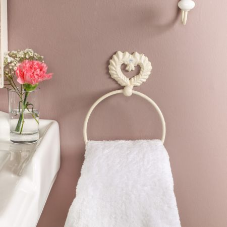 Cream Heart Shabby Chic Towel Ring