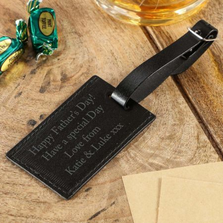 Black Leather Personalised Gift Tag