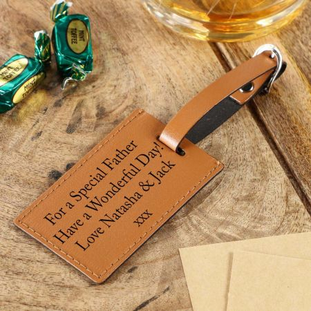 Tan Leather Personalised Gift Tag