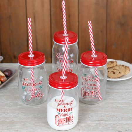 Set of 4 Christmas Mason Jar Glasses