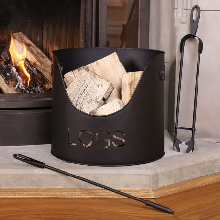 Country Fire Log Bucket with Poker and Tongs