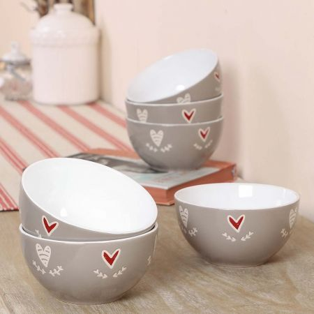 Set of 6 Country Heart Breakfast Bowls