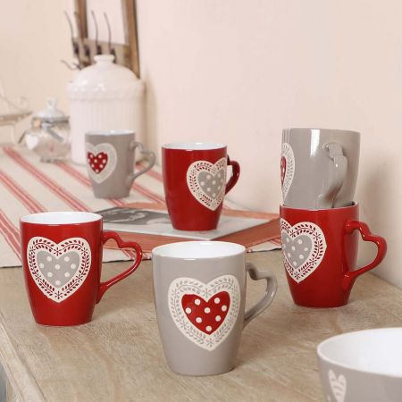 Set of 6 Red and Grey Breakfast Mugs