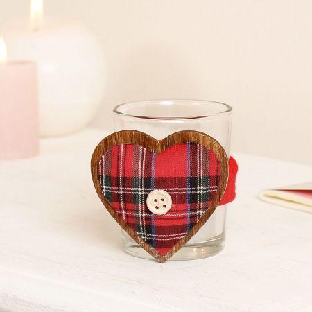 Tartan Heart Candle Holder