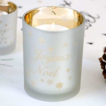 Large Frosted Glass Christmas Candle Holder