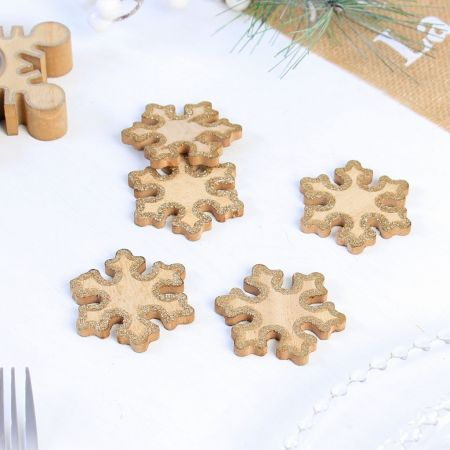 Set of 5 Gold Glitter Snow flake Table Scatters