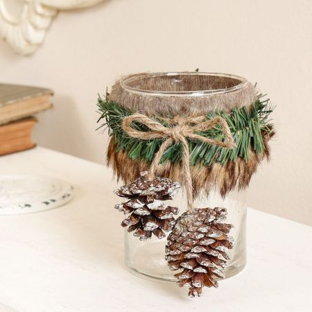 Rustic Pine Cone Candle Holder