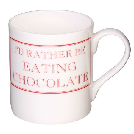 Red and White I'd Rather Be Eating Chocolate Mug