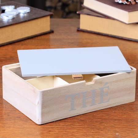 Contemporary Wooden Natural Finish Tea Box