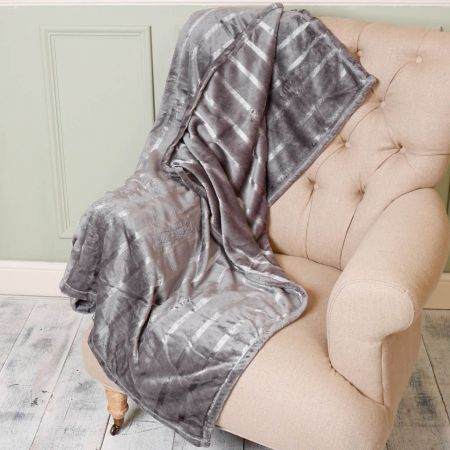 Grey and Silver Striped Blanket