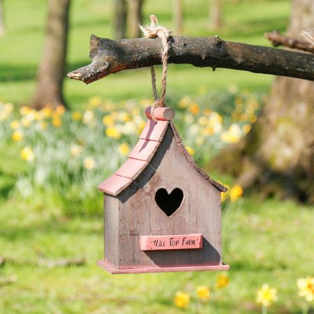 Personalised Red Roof Wooden Hanging Bird House
