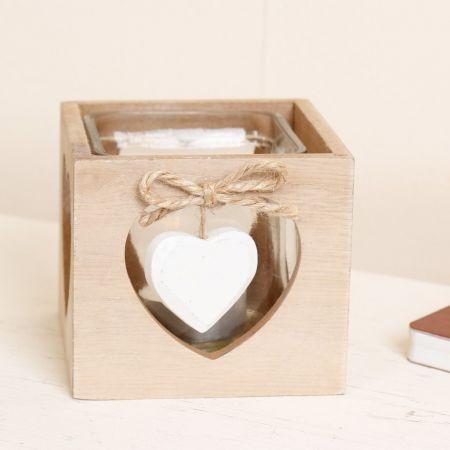 Wooden Heart Tealight Candle Lantern