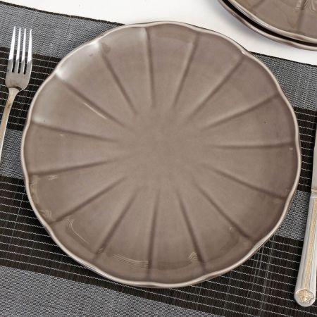 French Grey Ceramic Dinner Plate