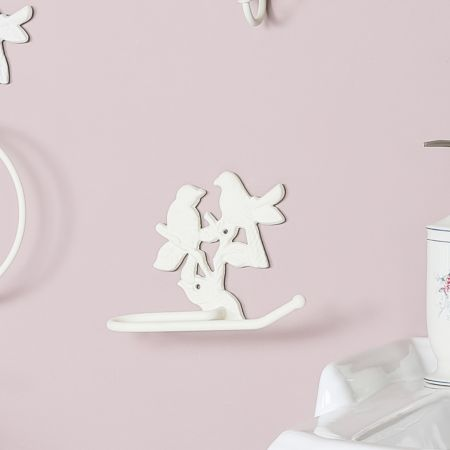 Cream Perched Birds Toilet Roll Holder
