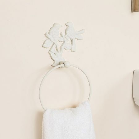 antique cream towel ring hook
