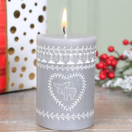 Winter Grey Stag Candle