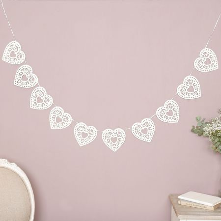 cream heart shaped bunting