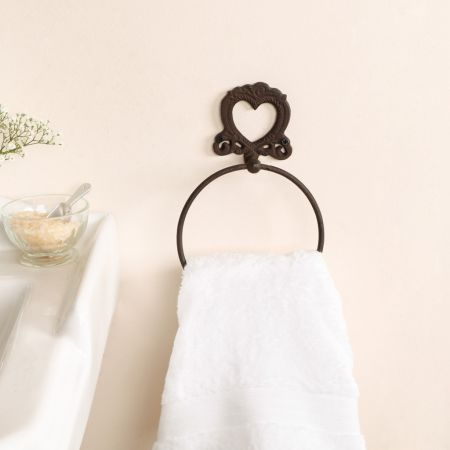 French Country Style Heart Shaped Towel Ring