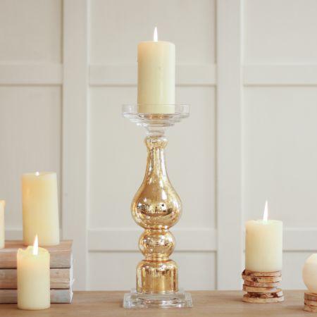 Decorative Gold Glass Candle Column