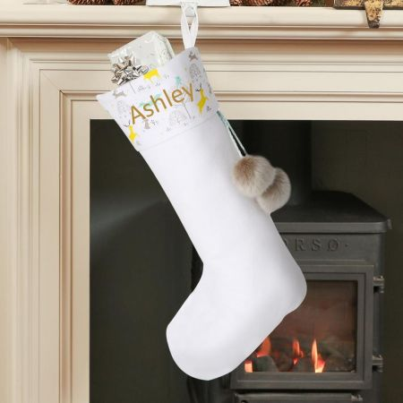 White Woodland Christmas Stocking