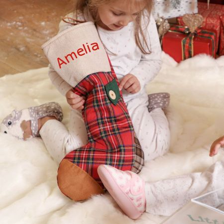 Red Tartan Personalised Christmas Stockings