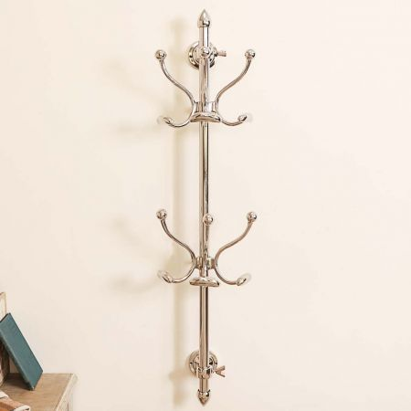 Polished Chrome Wall Mounted Coat Stand
