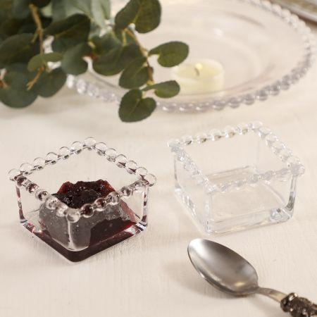 Bella Perle Beaded Square Glass Bowl