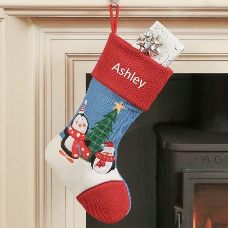 Personalised Penguin Childrens Christmas Stocking